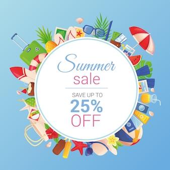 Modelo de banner de venda de verão com desconto quente conceito de turismo tropical em estilo cartoon