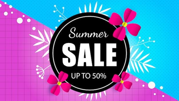Modelo de banner de venda de verão com flor exótica tropical