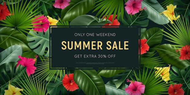 Modelo de banner de venda de verão com flores de folhagem tropical