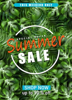Modelo de banner de venda de verão com folhas de palmeira exóticas