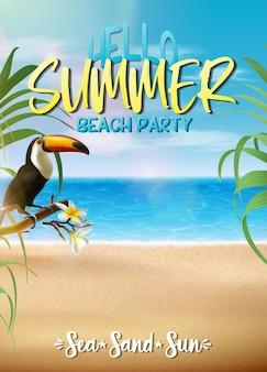 Modelo de banner de venda de verão com folhas tropicais e tukan em uma praia