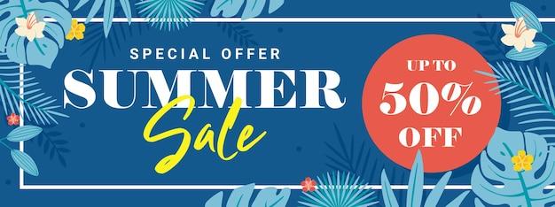 Modelo de banner de venda de verão com moldura e folha floral azul