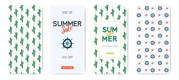 Modelo de banner de venda de verão com padrão de cacto e padrão náutico