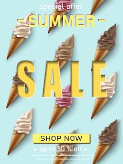 Modelo de banner de venda de verão com sorvete