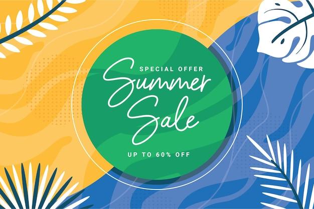 Modelo de banner de venda de verão de fim de temporada com folha e círculo brancos