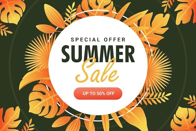 Modelo de banner de venda de verão de fim de temporada com folha e círculo verdes