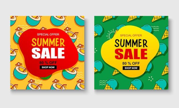 Modelo de banner de venda de verão. desconto de verão oferta especial design bonito.
