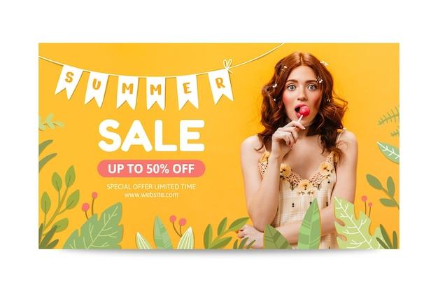 Modelo de banner de venda de verão desenhado à mão com foto