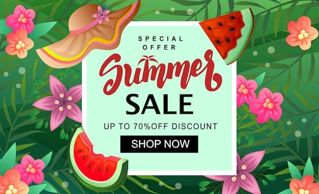 Modelo de banner de venda de verão - fatia de melancia