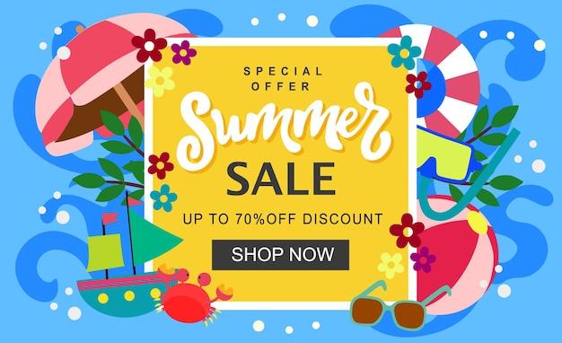 Modelo de banner de venda de verão, férias na praia