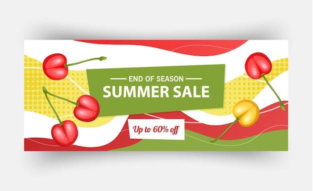 Modelo de banner de venda de verão, ilustração vetorial