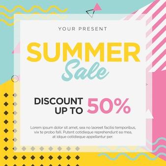 Modelo de banner de venda de verão memphis retro design