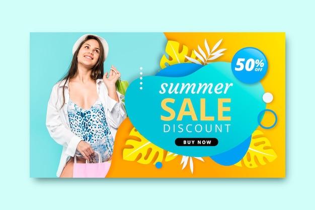 Modelo de banner de venda de verão realista com foto