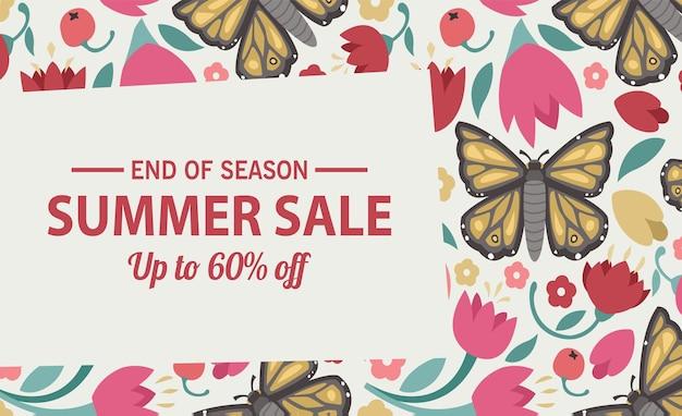 Modelo de banner de venda de verão verão com fundo brilhante de venda para seu anúncio