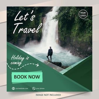 Modelo de banner de venda de viagens de mídia social verde