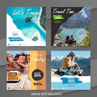 Modelo de banner de venda de viagens de mídia social