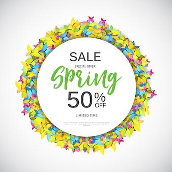 Modelo de banner de venda design primavera abstrata.