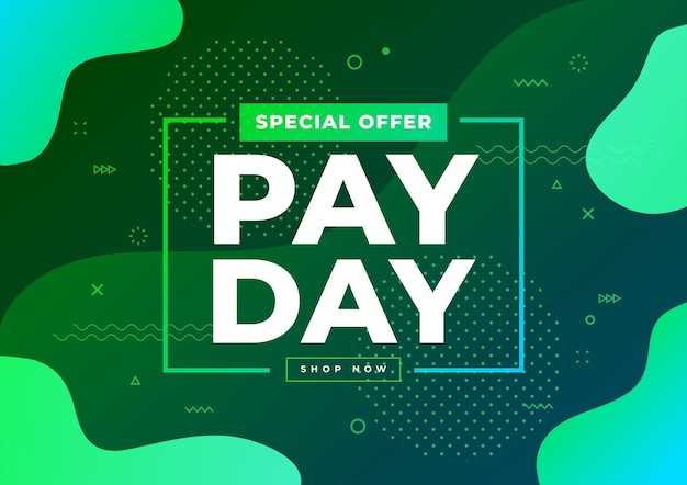 Modelo de banner de venda do dia de pagamento de oferta especial.