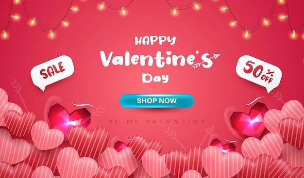Modelo de banner de venda do dia dos namorados com corações