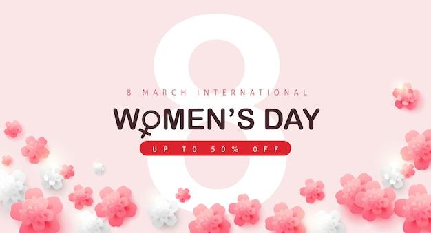 Modelo de banner de venda do dia internacional da mulher.