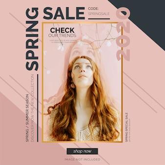 Modelo de banner de venda elegante primavera