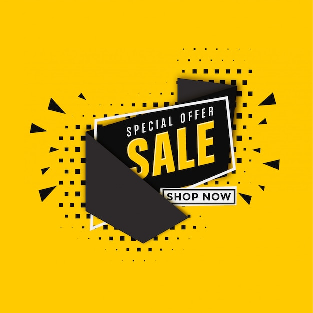 Modelo de banner de venda em fundo amarelo