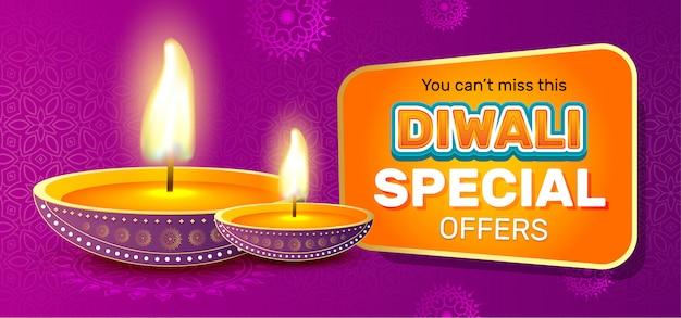 Modelo de banner de venda festival de diwali