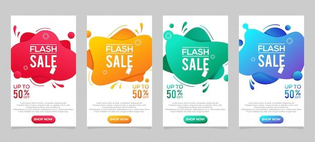 Modelo de banner de venda, fluido moderno dinâmico para banners de venda. oferta especial de venda instantânea e desconto de até 50%