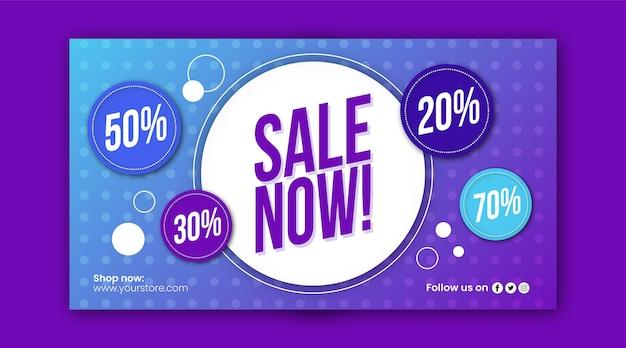 Modelo de banner de venda horizontal abstrato plano