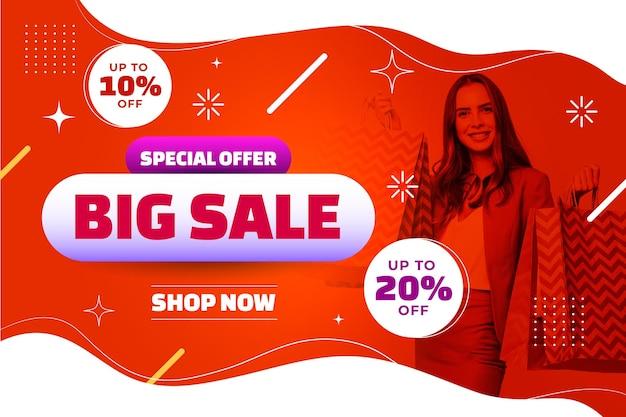 Modelo de banner de venda horizontal gradiente com foto