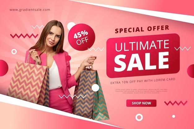 Modelo de banner de venda horizontal gradiente