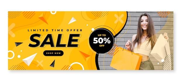 Modelo de banner de venda horizontal plano com foto
