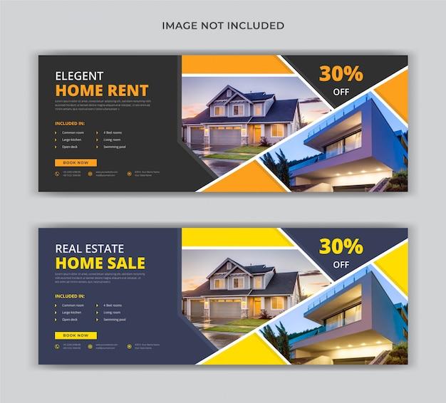 Modelo de banner de venda imobiliária aluguel casa mídia social capa