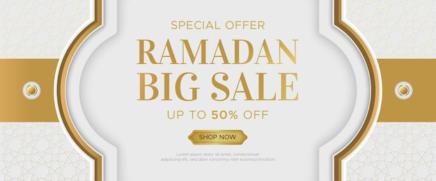 Modelo de banner de venda luxo ramadan kareem