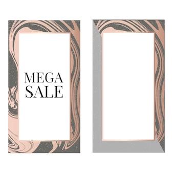 Modelo de banner de venda mega com moldura de moda
