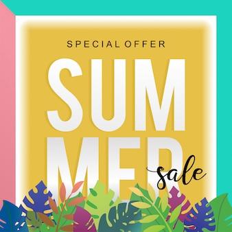 Modelo de banner de venda na moda verão com decoração floral