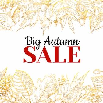 Modelo de banner de venda outono com folhas