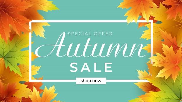 Modelo de banner de venda outono decorar com folhas para compra venda ou promo