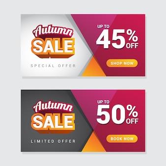Modelo de banner de venda outono moderno