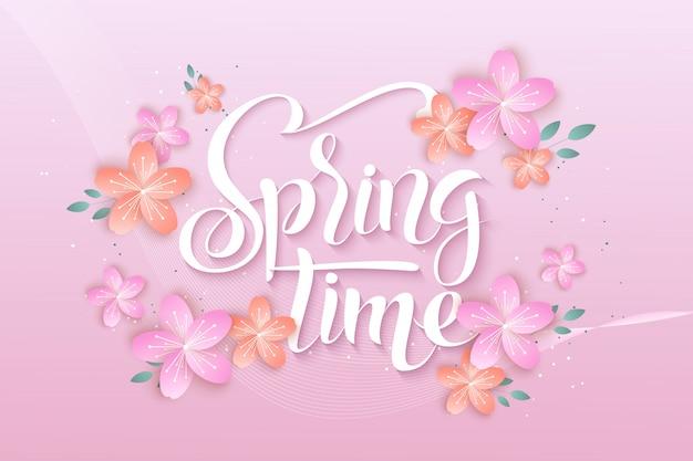 Modelo de banner de venda primavera com flor de papel em fundo colorido.