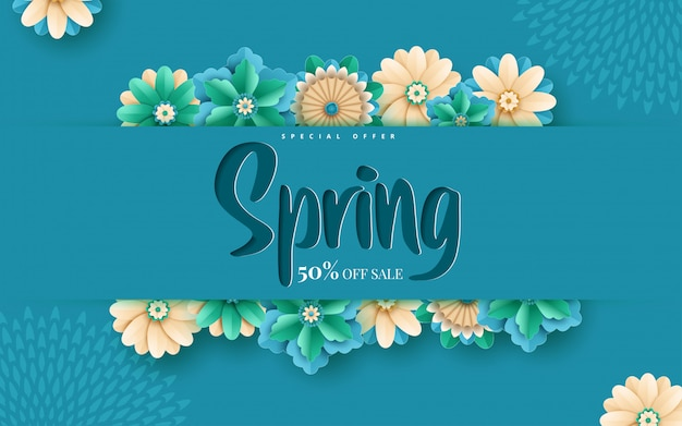 Modelo de banner de venda primavera com moldura de corte de papel
