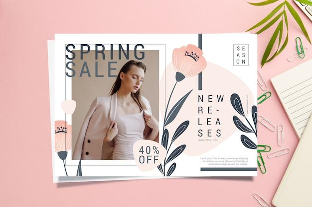Modelo de banner de venda primavera