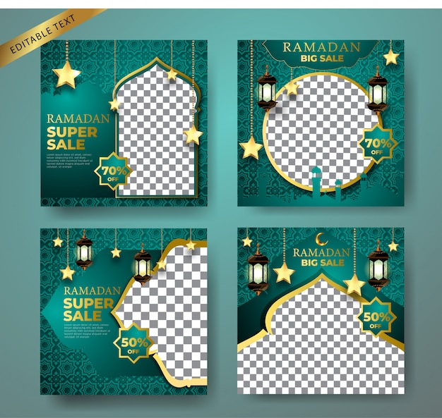 Modelo de banner de venda promoção kit verde. com fundo de ornamento, lua, mesquita e lanterna para publicação em mídia social, instagram