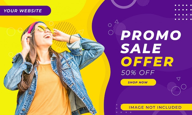 Modelo de banner de venda promocional
