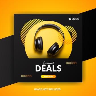 Modelo de banner de venda quadrada com fones de ouvido