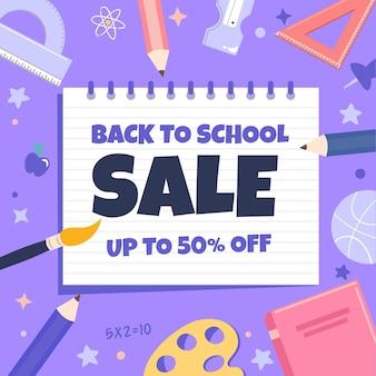 Modelo de banner de venda quadrado de volta à escola