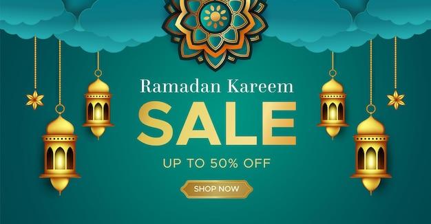 Modelo de banner de venda ramadan kareem realista