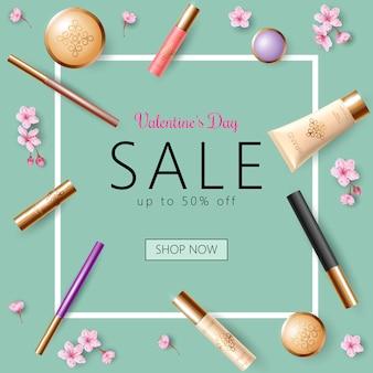 Modelo de banner de venda realista dia dos namorados 3d, flor de primavera com desconto oferta