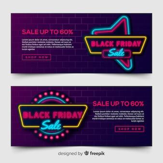 Modelo de banner de venda sexta-feira negra em estilo neon