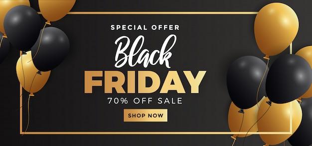 Modelo de banner de venda sexta-feira preta com balões realistas a voar